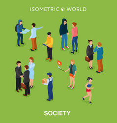 Isometric flat people crowd vector