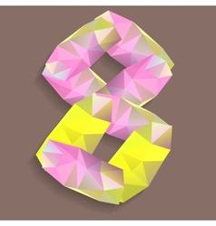 Geometric crystal digit 8 vector