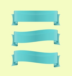 Set of blue sleek web ribbon vector