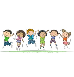 Happy children jumping vector image
