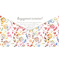 Engagement invitation card with watercolor flowers vector