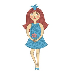Funny beautiful princess in childish style vector