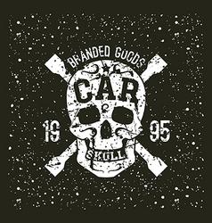 Car skull emblem vector image