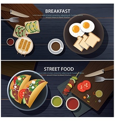 Breakfast and street food banner vector