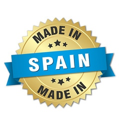 Made in spain gold badge with blue ribbon vector