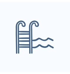Swimming pool with ladder sketch icon vector