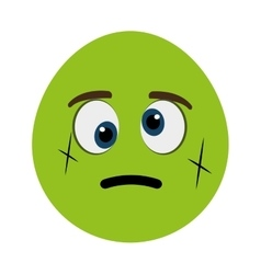Green cartoon face with crooked eyes vector