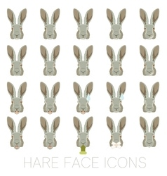 Set of hare faces vector