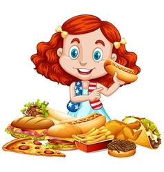 American girl and american food vector