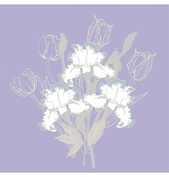 Background with white irises vector