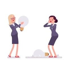 Businesswomen with light bulbs one is broken vector