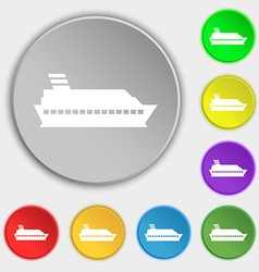 Cruise sea ship icon sign symbol on eight flat vector