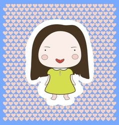 Cute happy smiling cartoon baby girl vector