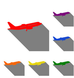 Flying plane sign side view set of red orange vector