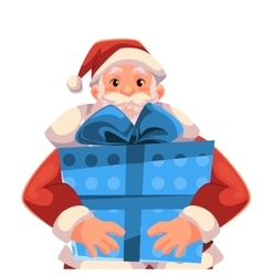 Half length portrait of santa holding a gift box vector