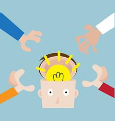 hands pick bulb idea in human head vector image vector image