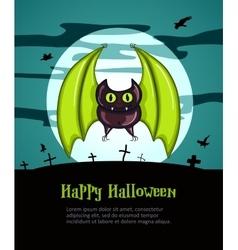Happy Halloween Poster with Bat vector image vector image