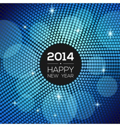 Happy new year 2014 - blue disco lights frame vector