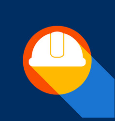 Hardhat sign white icon on tangelo circle vector