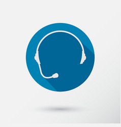 headphone round icon of support with long shadow vector image