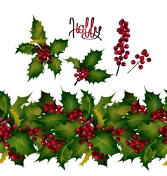 Holly leaves and berries endless border vector