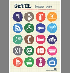 Hotel and service web icons set drawn by chalk vector image