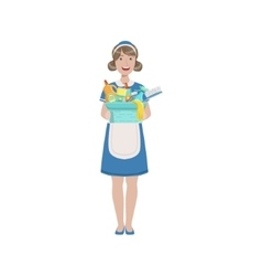 Hotel professional maid with bucket of household vector