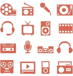Icon set of gadgets and devices in a retro style vector image