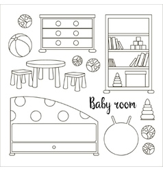 Interior of baby room vector
