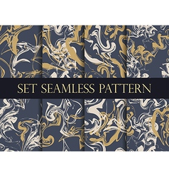 Marbling seamless pattern set vector image vector image