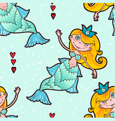 Mermaid seamless pattern kawaii maritime princess vector