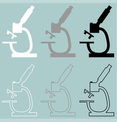 Microscope white grey black icon vector