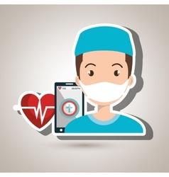 Nurse smartphone cardio heart vector