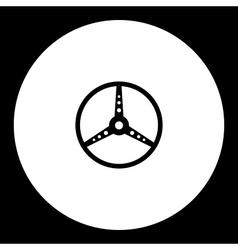 Old sport car steerin wheel black icon eps10 vector