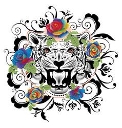 ornamental tiger portrait vector image