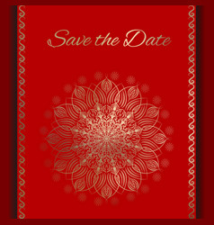 Postcard save the date in red and gold vector