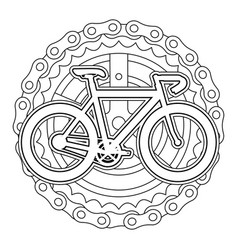 Racing bicycle with chain and sprocket vector