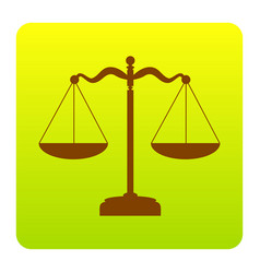 Scales balance sign brown icon at green vector