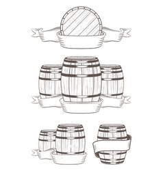 set barrels with labels vector image vector image