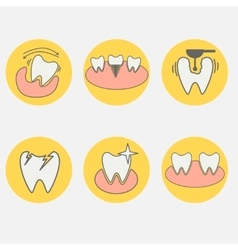 Set of dental conceptual icons vector image vector image
