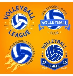 Set of volleyball labels logo templates etc with vector image vector image