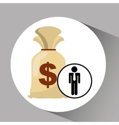 Silhouette man manager economy finance bag money vector