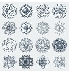 Sixteen round mandalas vector