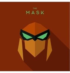The villain with green eyes orange mask antihero vector