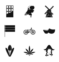 Tourism in holland icons set simple style vector