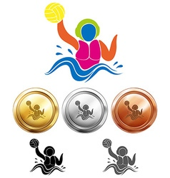 Water polo icon and sport medals vector