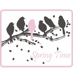 Watercolor background with birds on tree vector image