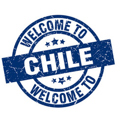 Welcome to chile blue stamp vector