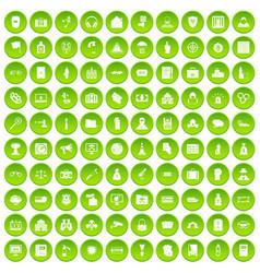 100 crime icons set green vector