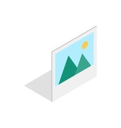 Picture with mountains and sun icon vector